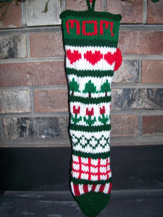 Old fashioned hand knit personalized mom hand knit sampler for Fashion christmas stockings