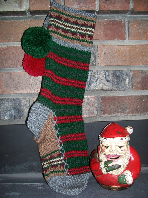 Old fashioned hand knit rustic two tone red green brown gray for Fashion christmas stockings