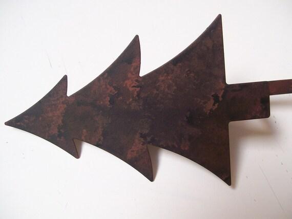 Rustic Blackened Metal Fir Tree Christmas Stocking Hanger