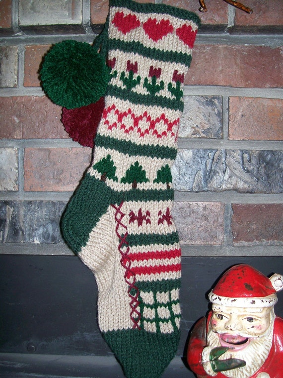 Old fashioned hand knit rustic sampler 3 christmas stocking for Fashion christmas stockings