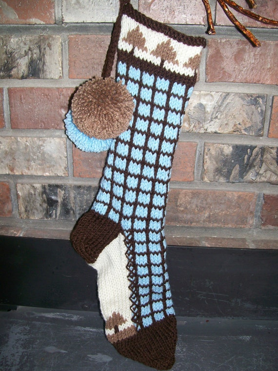 Old Fashioned Hand Knit Bright Series Baby Blue Chocolate Brown Window Pane Christmas Stocking with Fir Tree Detail