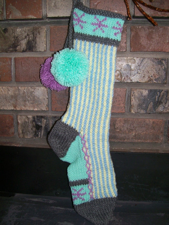 Old Fashioned Hand Knit Bright Series Baby Powder Blue Seafoam Lavender Pastel Yellow Christmas Stocking