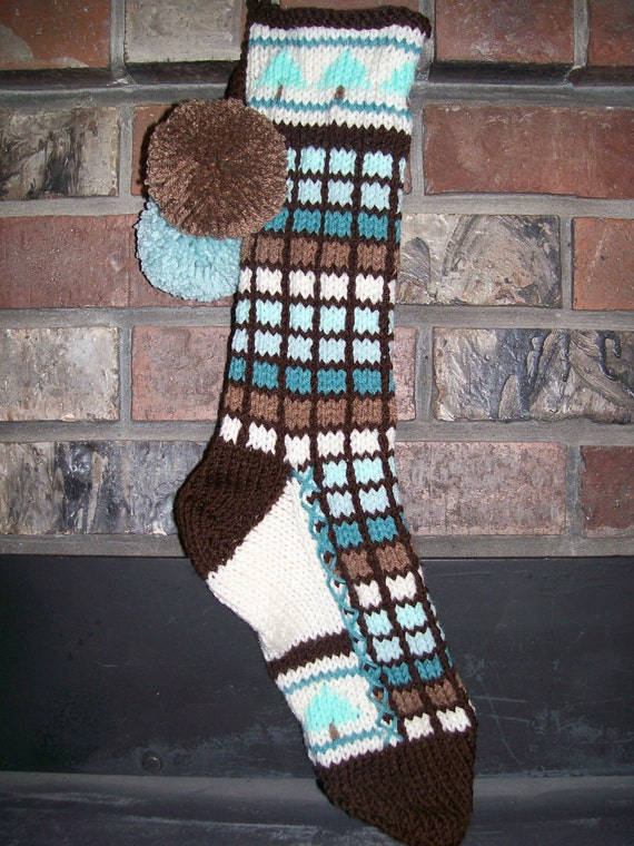 Old Fashioned Hand Knit Baby Pastels Seafoam and Brown tones Christmas Stocking with tree detail
