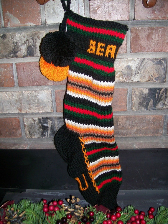 Old Fashioned Hand Knit Christmas Stocking in Orange Black Green Red Horizontal Stripes for Oregon State Beavers Fans