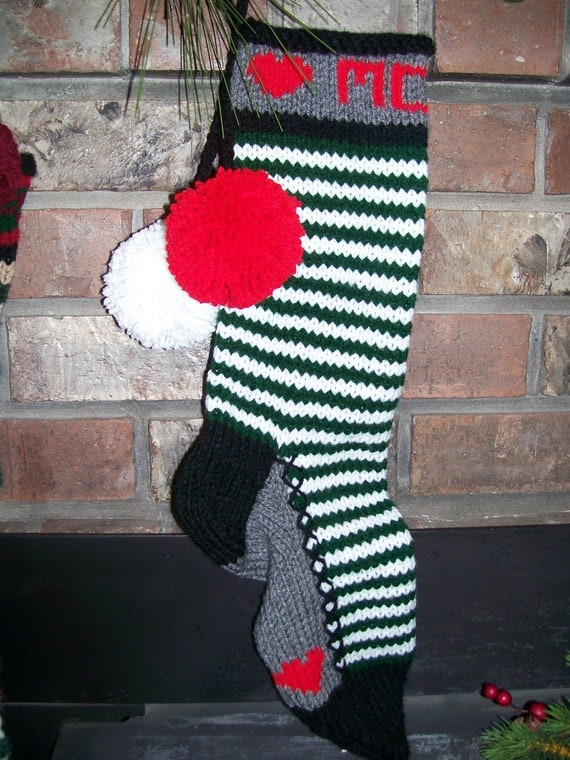 Old Fashioned Hand Knit Classic Series Personalized MOM Green & White Horizontal Elf Stripes with Red Hearts Stocking