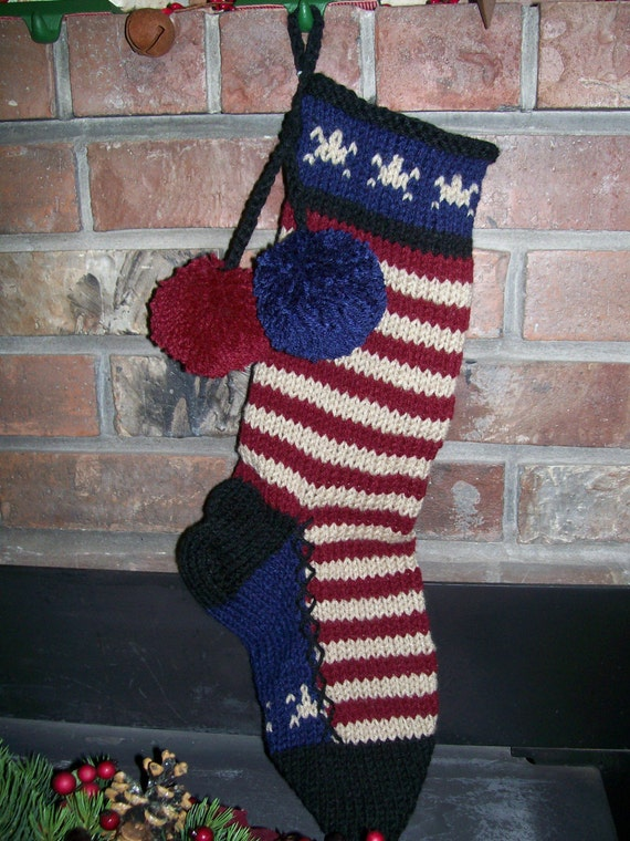 Old Fashioned Hand Knit Rustic Americana Horizontal Stripe Christmas Stocking with Star Detail