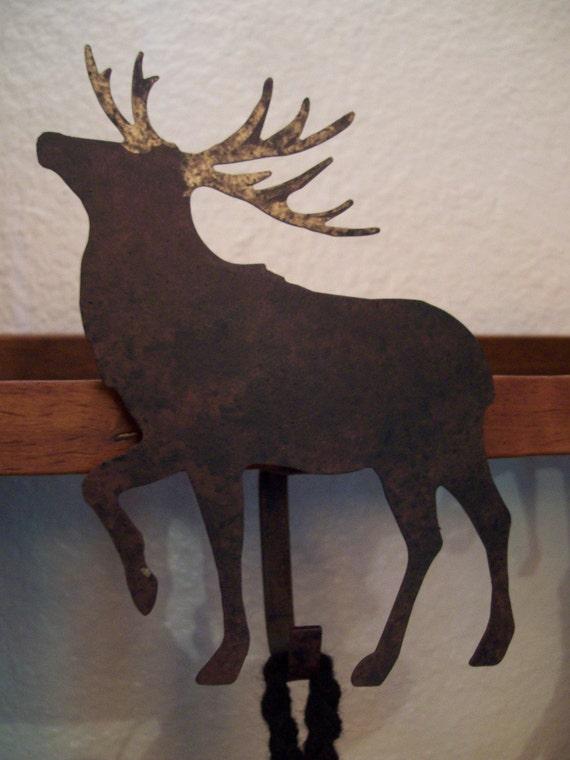 Rustic Blackened Metal Golden Antler Reindeer Christmas Stocking Holder
