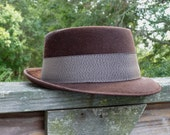 Vintage Chocolate Brown Brushed Felt Fedora