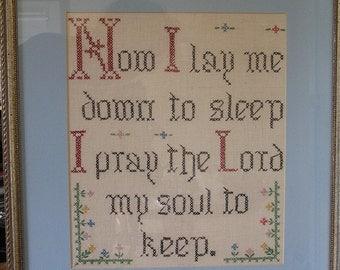 Vintage Cross Stitch prayer framed