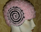 Crocheted Womens Flapper Hat Art Deco Pink and Black Helmet style Cloche