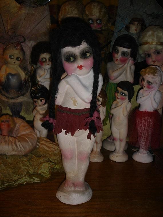 "Large 18"" Chalkware Flapper Carnival Kewpie Doll"