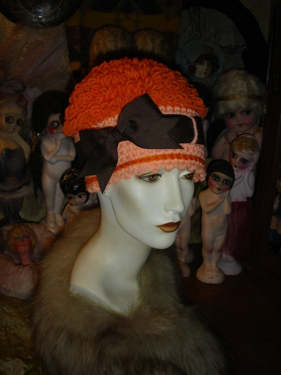 Womens Flapper Scullcap Hat Crocheted Bright Bright & Light Orange Poodle Cloche SPECIAL PRICE