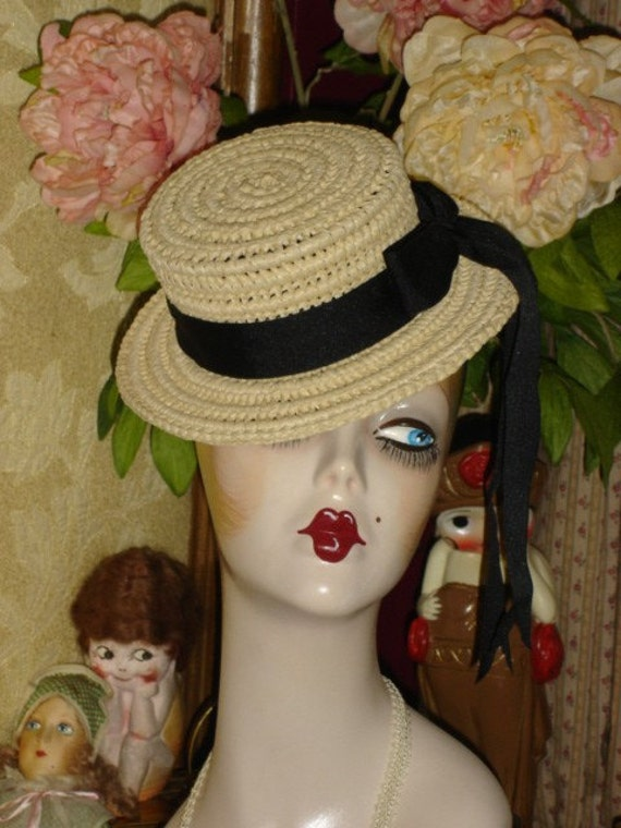Large Mini Straw Classic Boater hat
