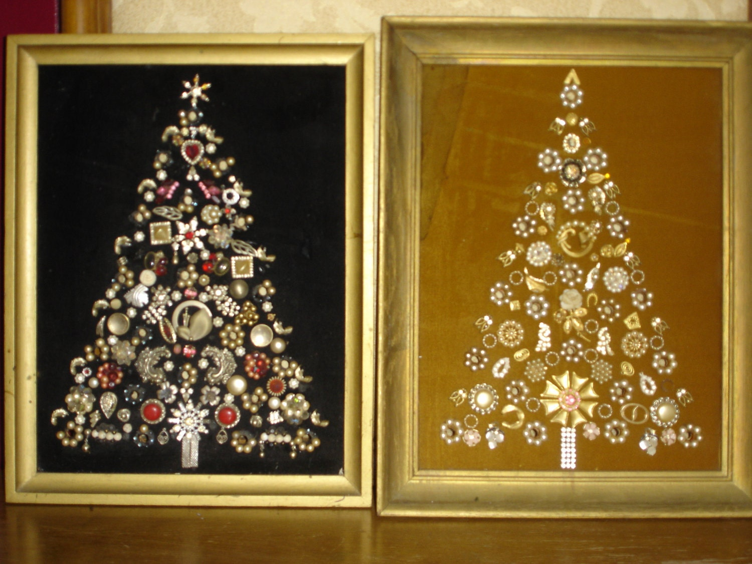 2 Vintage Costume Jewelry Christmas Tree Framed By
