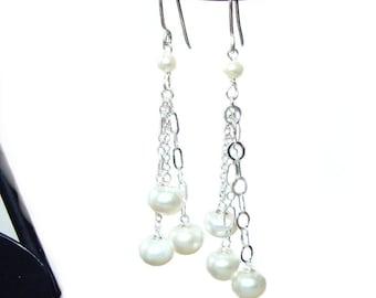 Pearl dangle sterling silver french hook earrings- sale