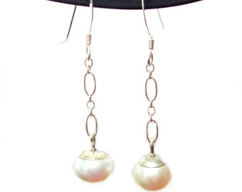 8.5mm Pearl french hook sterling silver earrings
