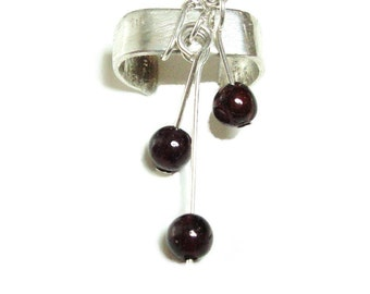 Sterling silver and garnet ear cuff
