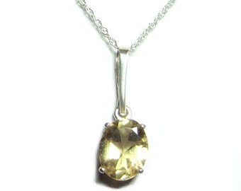 Citrine sterling silver pendant with chain