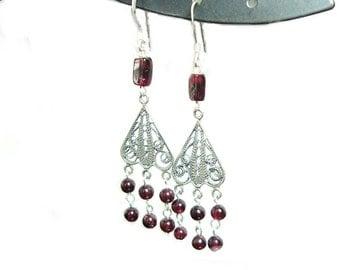 Garnet chandelier sterling silver french hook earrings