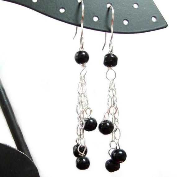 SALE - Obsidian sterling silver french hook earrings