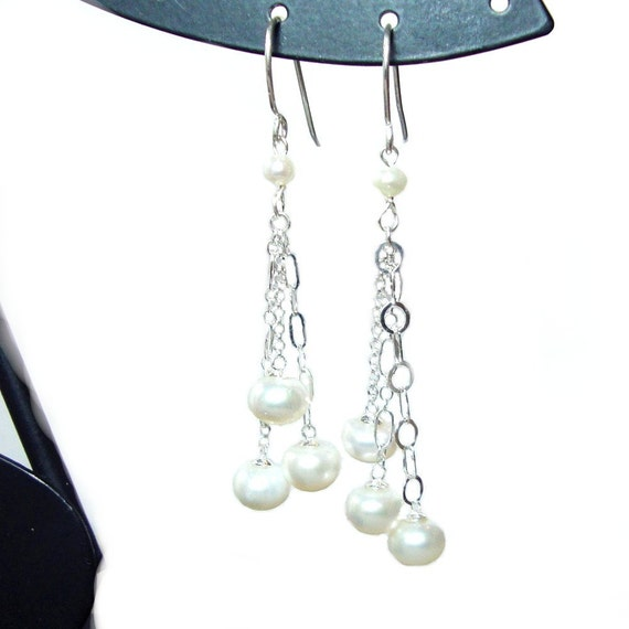 SALE - Pearl dangle sterling silver french hook earrings