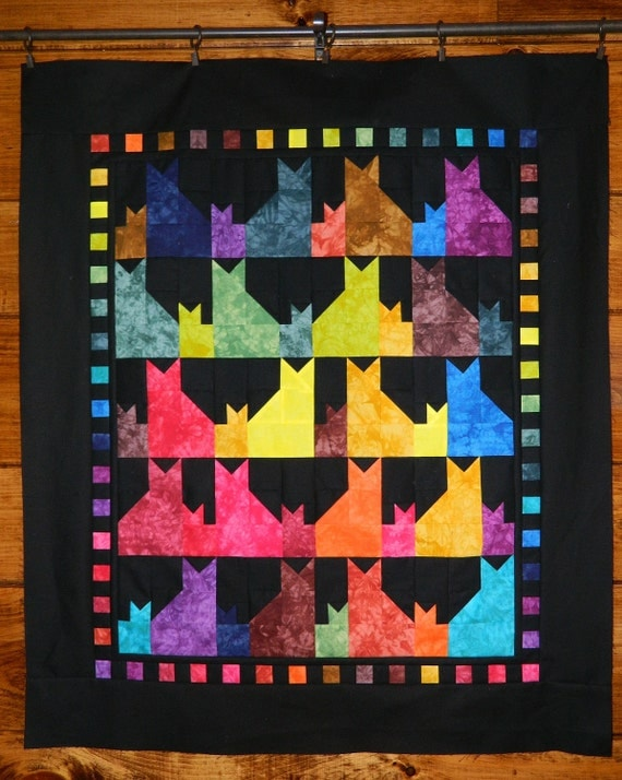 Mama & Her Kitten Quilt Kit with Hand Dyed Fabrics - Fast, Easy and Fun