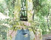 Cute Repurposed Denim Blue Jean Pocket Summertime Drawstring Tote