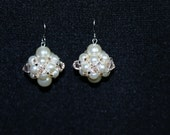 Festive Glass Pearl and Taupe Crystal Pierced Earrings