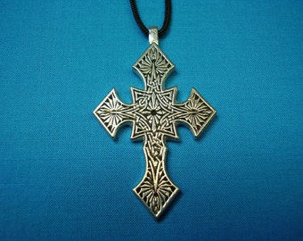 Small Gothic Influenced Knotwork Silver Pewter Cross, Necklace Pendant STK106