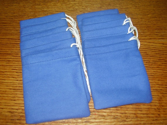 Set of 12, Solid Royal Blue Flannel Cotton Hoo Doo / Mojo Bags / Jewelry Pouches