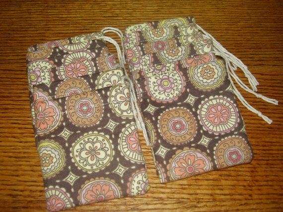 NEW Set of 12, Softly Designed Cotton Hoo Doo / Mojo Bags / Jewelry Pouches