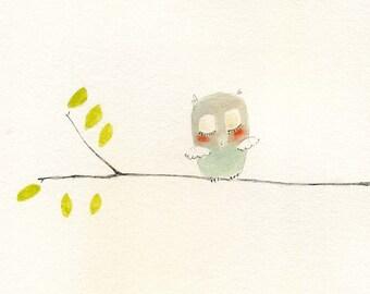 Sleepy Owl 8.5 x 8.5 Print