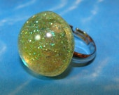 CLEARANCE--Green Glitter Bubble Ring