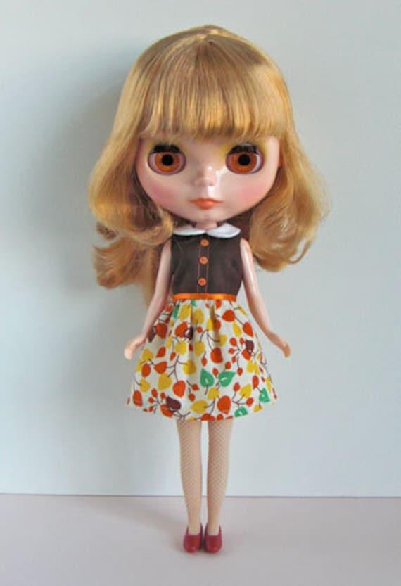 Holiday dress orange-for Blythe