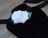 Choker Black and White Ribbon Rose Ladies