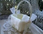 Wedding Flower Girl Basket  Square Handmade Organza  Flowergirl in White or Ivory