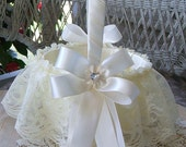 Basket for Flower Girl, Handmade, Sweet Heart Choose Ivory or White