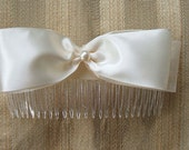 Bridal Comb Satin & Organza Bow with Pearl Handmade Available White or Ivory