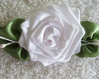 Applique Ribbon Rose Handmade White BoutiqueDesigner Bridal