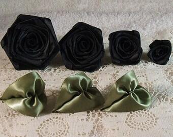 Ribbon Rose,Handmade Quality Set of 4,Black, XL,LG,Med,Small