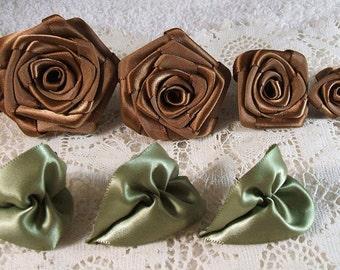 Victorian Ribbon Roses Handmade 4,Chocolate, XL,LG,Med,Small