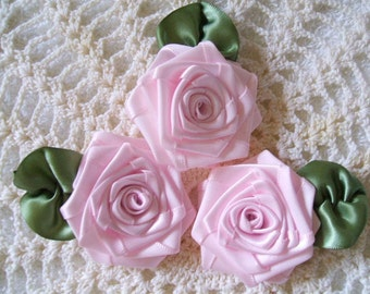 Handmade Ribbon Roses 3 XL Whisper Pink