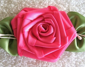 Hot Pink Rose Applique Veined Leaves Hand Made Trims