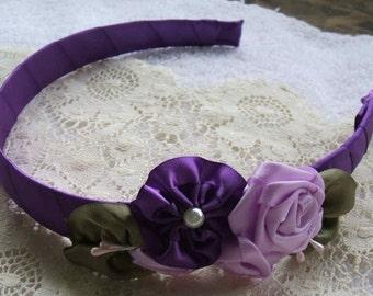Girls/Ladies Victorian Ribbon Rose Hair Band/Headband/Elegant Purple  Lavender