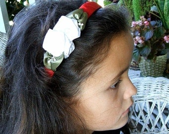 Girls/Ladies Victorian Ribbon Rose Hair Band/Headband/Elegant White and Red