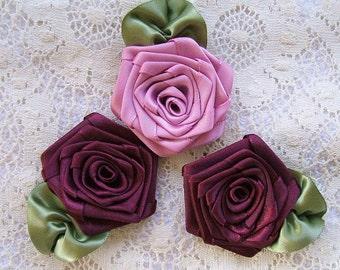 Ribbon Rose, Handmade, Appliques, 3 XL, Boutique,Designers