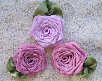Ribbon Roses, Handmade, Appiliques, 3 XL, Boutique, Designers, Disty,Lav