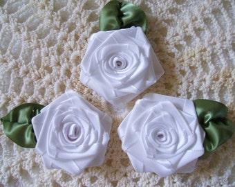 Handmade Ribbon Roses 3 XLG White 2-1/2in each.
