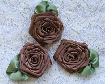 Ribbon Rose Appliques 3 XL Handmade Chocolate