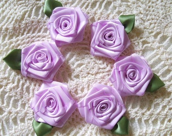 6 LG Lavender 2in. Victorian Ribbon Roses for Boutique Designers